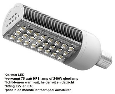 24 watt LED lantaarnpaal lamp
